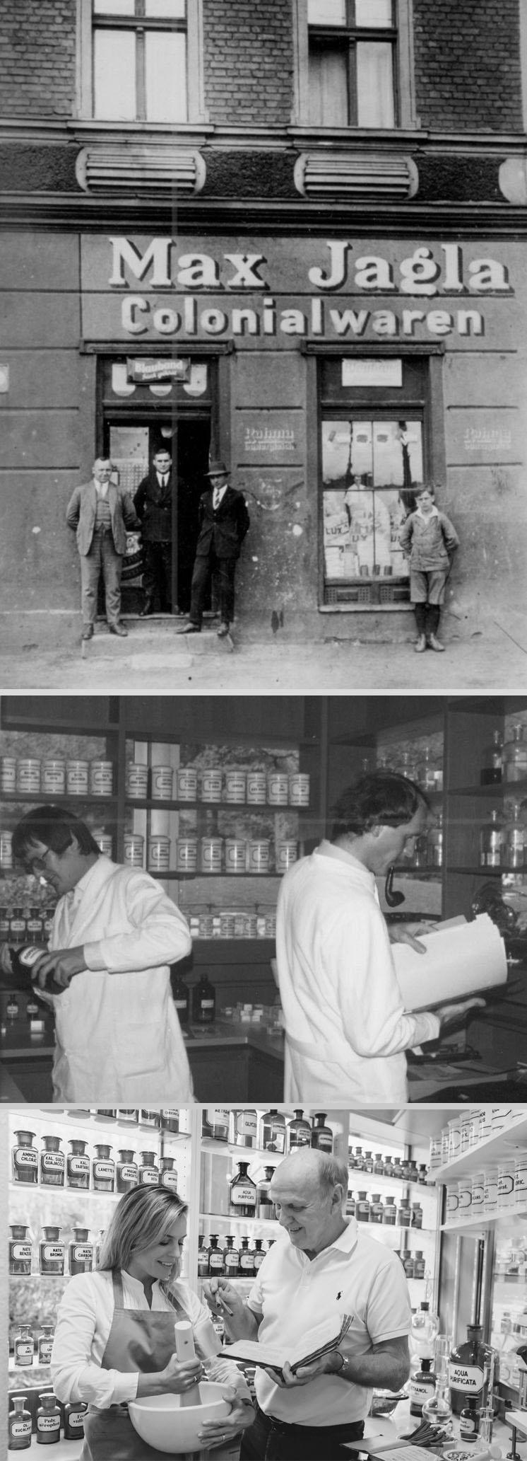 Die Familie von Apotheker Helmut Jagla mit einer Klosterapothekenrezeptur / Die Park-Apotheke wo das Artischocken Elixier und das Golfers Ginseng Elixier erfunden wurden.